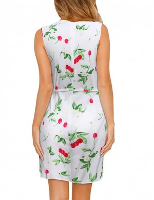 Sleeveless Fruity Large Size Mini Dress High Elasticity