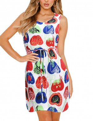 Affordable Print Open Sleeve Large Size Mini Dress