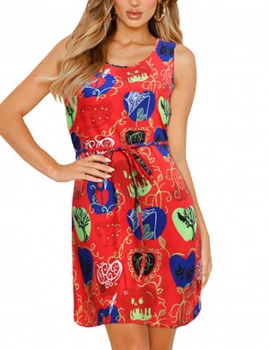 Glamorous Waist Tie Sleeveless Big Size Mini Dress