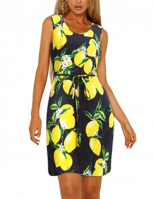Ultra Sexy Print Zipper Big Size Mini Dress Sleeveless
