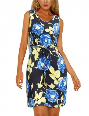 Marvelous  Zip Back Floral Plus Size Mini Dress Round Neck