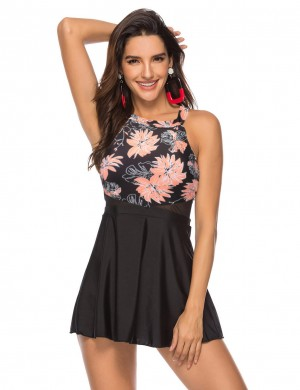 Push Up Mesh Patchwork Cut Out Swim Dress Big Size For Girls