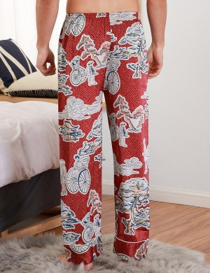 Seductress Wine Red Contrast Color Print Male Pants Faux Slik Elastic Material