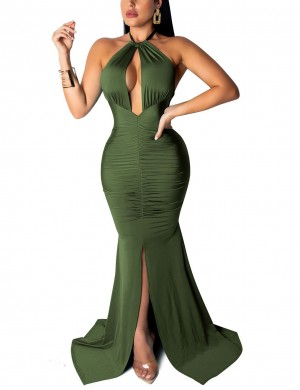 Sweet Irregular Hem Army Green Halter Evening Dress Split Natural