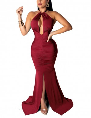 Wine Red Halter Irregular Hem Evening Dress Ruched For Holiday