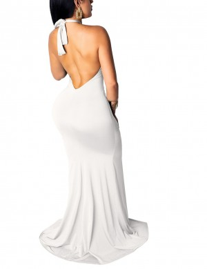 Shimmer Cut Out Tie White Backless Ruched Evening Dress Wholesale