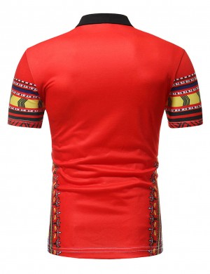 Chic Red Men Short Sleeve Tribal Print Shirt Polo Neck Stretchy
