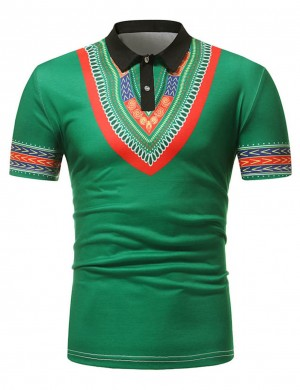 Seaside Green African Short Sleeve Polo Neck Male Shirt Fashion Tee