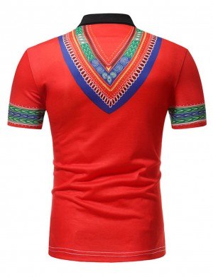 Multi-Function Red Polo Collar Tribal Print Male Blouse Great Quality