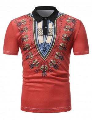 Red Dashiki Buttons Male Shirt Short Sleeve Vacation Time Outfit