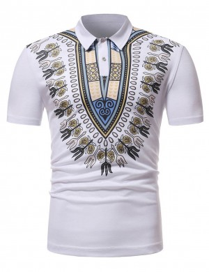 Bewildering White Polo Collar Dashiki Men Shirt Short Sleeve Cheap