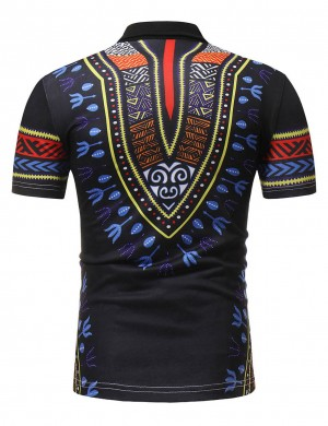 Impeccable Black Polo Collar Male Dashiki Short Sleeve Top