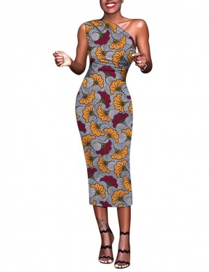 Hot Stuff Brushed Sloping Shoulder Bodycon Dress Print Breathable