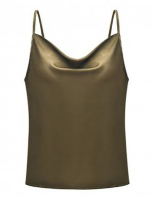 Flexible Army Green Slender Strap Backless Top Chiffon Big Size Regular