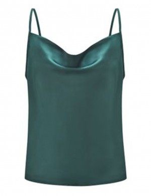 Impeccable Blackish Green Chiffon Large Size Vest Top Backless Trend