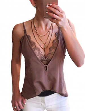 Striking Slender Strap Lace Big Size Vest Top V Neck For Sauntering