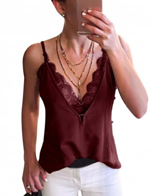 Wine Red Scallop Sleeveless V Neck Vest Top Big Size Quality Assured