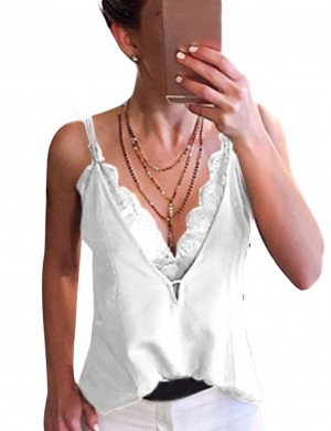 Sultry White Lace Big Size Sling Vest Top V Neck Chic Online