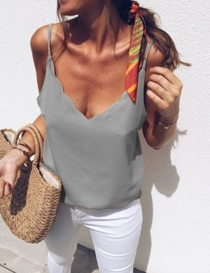 Tantalizing Queen Size Grey Slender Strap Vest Top V Neck Newest Fashion