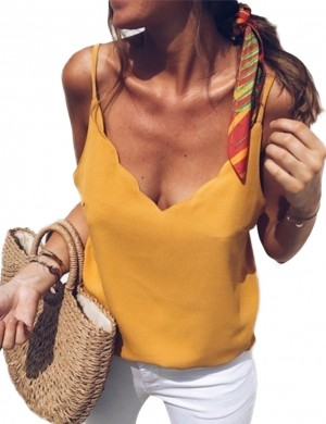 Yellow Scallop Queen Size V Neck Sling Top Plain Casual Women