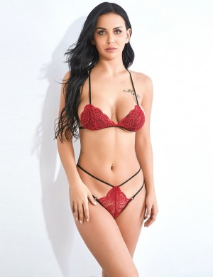 Tantalizing Lace Red V Neck Strappy Backless Bralette Set Slim All over