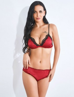 Intrigued Red Spaghetti Strap Open Back Bralette Set Lace For Bedtime