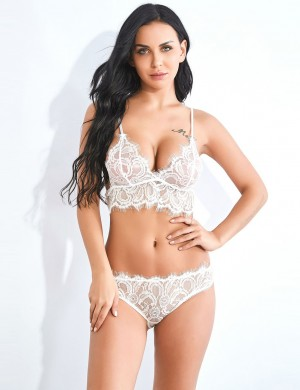 Demure V Collar White Lace Eyelash Sling Bralette Set All Over Loose Fitting
