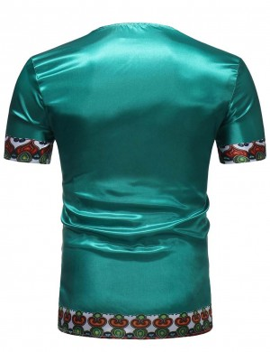 Green African Big Size Crew Neck Short Sleeve Men Shirt Trendy Clothes