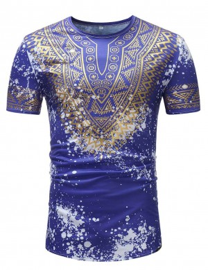 Dazzling Dashiki Blue Ink Splashing Crew Neck Shirt Male Leisure Fashion