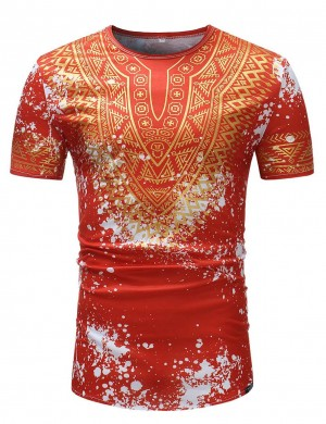 Appealing Splashing Ink Red Round Neck Male Shirt African Slim