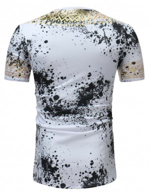 Inspired White Tribal Print Short Sleeve Men Shirt Crew Neck