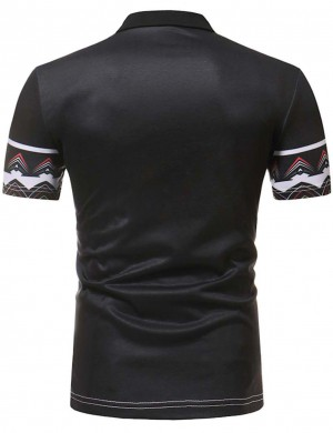 Absorbing African Pattern Black Short Sleeve Men Top Polo Neck Online