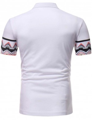 Brilliant White Polo Neck Tirbal Short Sleeve Men Shirt Leisure