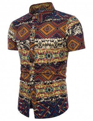 Sweet Big Size Button Polo Neck Male Shirt Tribal Stretchy