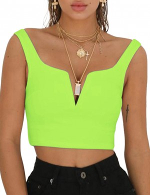 Explicitly Light Green Backless Zipper Side Cropped Top V Collar Unique