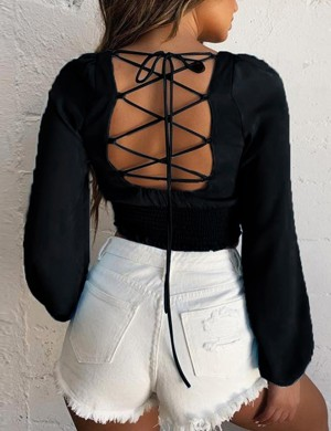National Black Lace Up Long Sleeve Smocking Cropped Top Fashion Essential
