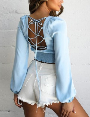 Supper Fashion Blue Backless Smocking Cropped Top Tie Back Woman