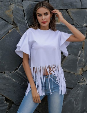 Amazing Tassel White Ruffle Sleeve Crew Neck Cropped Top Cheap Wholesale