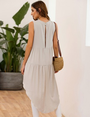 Appealing Beige Button Irregular Hem Tunic Top Sleeveless Elasticity