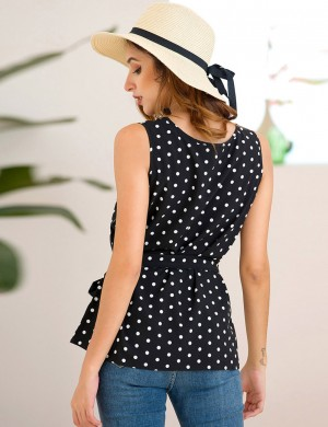 Shop Waist Belt Black Wide Strap Polka Dot Tank Top Lady Clothing