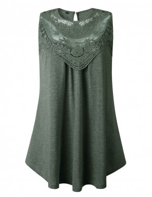 Form-Fitting Lace Stitch Green Round Neck Hollow Tank Top Pullover