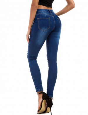 Loose Fit Dark Blue Elastic Queen Size Ripped Jeans Pencil For Ladies