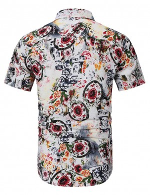 Well-Suited Red Print Button Short Sleeve Male Shirt Big Size