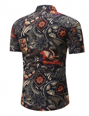 Vigorous Black Ethnic Print Short Sleeve Male Shirt Big Size Lightweight