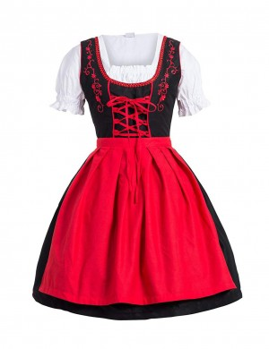 Stunning Red Large Size 3-Piece Fraulein Frill Oktoberfest Costumes Online