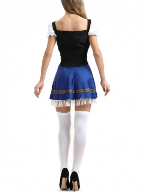 Contouring Sensation Blue Square Collar Puffed Oktoberfest Costumes Halloween Outfit