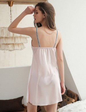 Convertible Pink Open Back Sleeveless Chemises Faux Silk All Over Soft