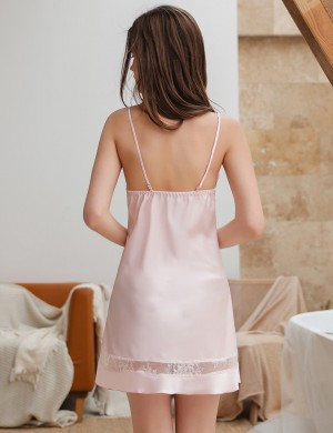 Romantic Pink Lace Sling Chemises Open Back Plain Super Soft