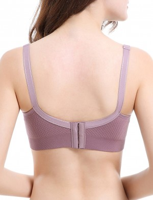 Purple Full Coverage Clip Down Wireless Maternity Bra Affordable Wholesale