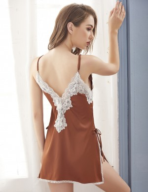 Enjoy Brown Side Slit Satin Lace Patchwork Chemises Cheap Online
